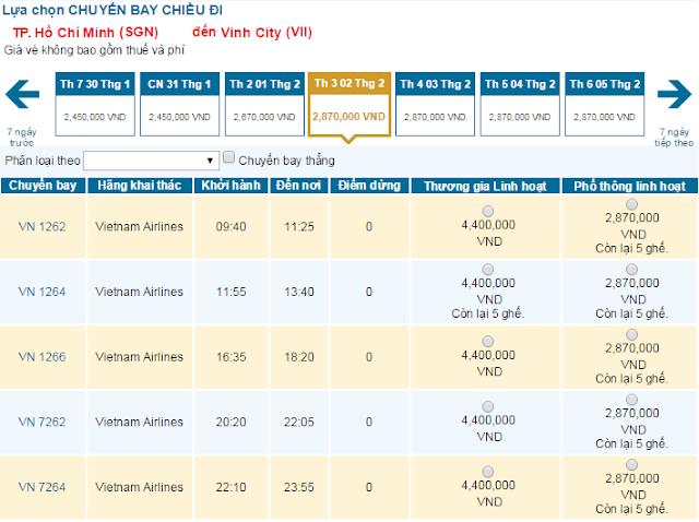 vé máy bay tết đi Vinh hãng Vietnam Airline