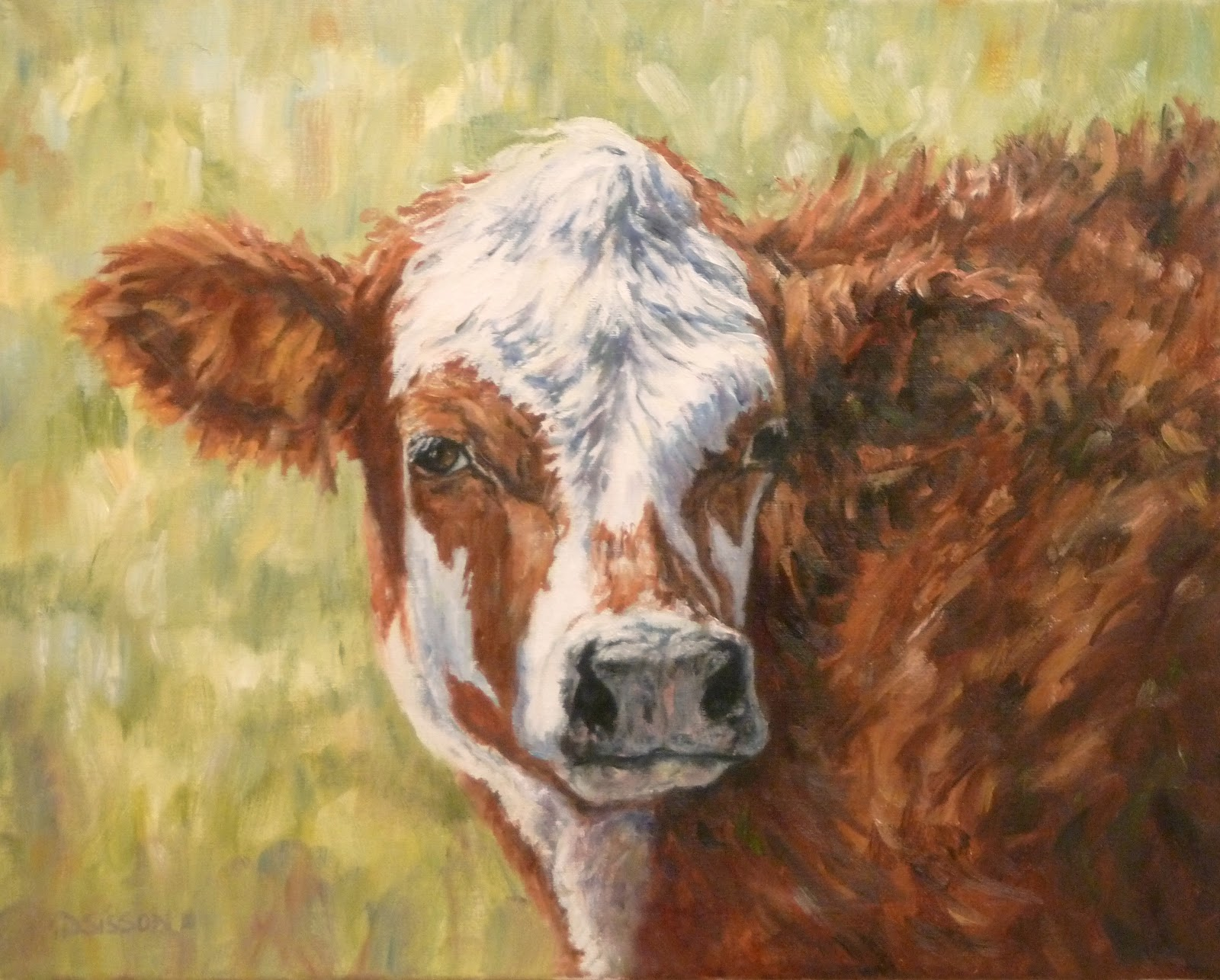 Daily Painting Projects: Wooly Calf Oil Painting Cow Art ...