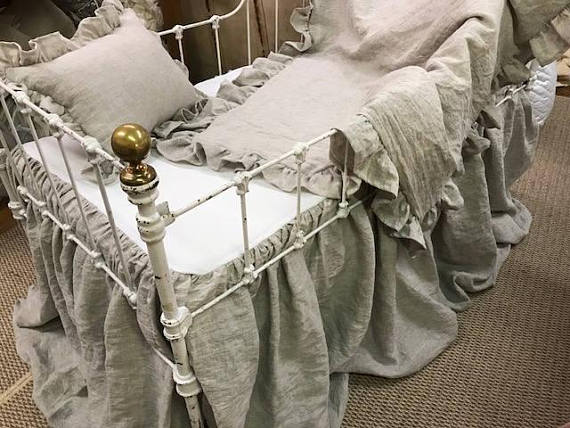 To Order The Bedding Shown Below You May See Listing Information Here Washed Natural Linen Nursery Separates