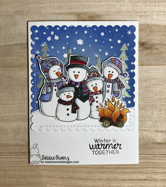 Winter is better together by Debbie features Frosty Friends, Frames Squared, Festive Forest die, Forest Scene Builder by Newton's Nook Designs; #newtonsnook, #cardmaking, #inkypaws