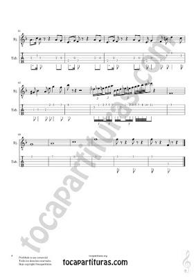 Hoja 4 Partitura y Tablatura de Pas de Deux para Banjo Fingerings with numbers Tabs