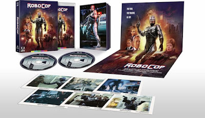 Arrow Video's Robocop Limited Edition comes with lobby cards, poster, collectible booklet, and reversible cover art!