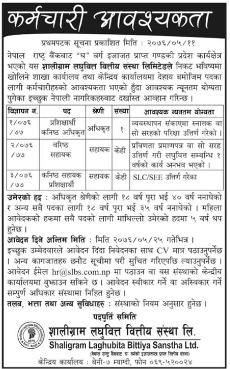 List of Jobs at Bank and Financial Institutions in Nepal