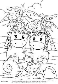 Colorear unicornios en la playa