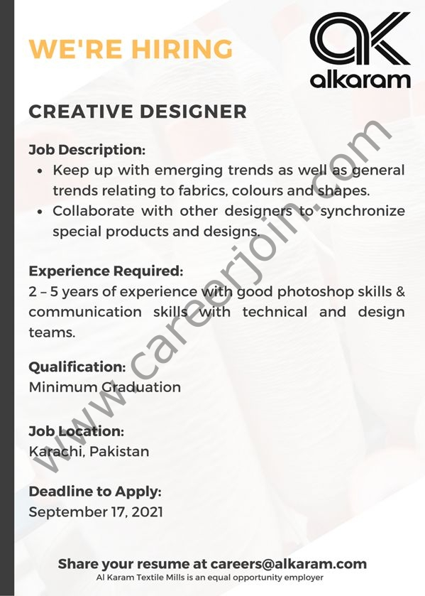 Alkaram Textile Mills Limited Jobs Creative Designer