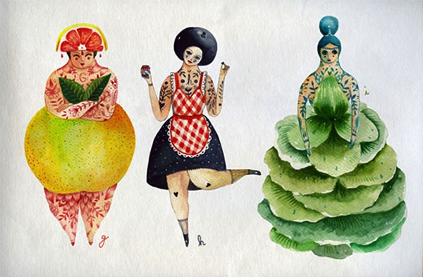 Imaginative Fruits And Vegetable Illustrations Projects Art Craft