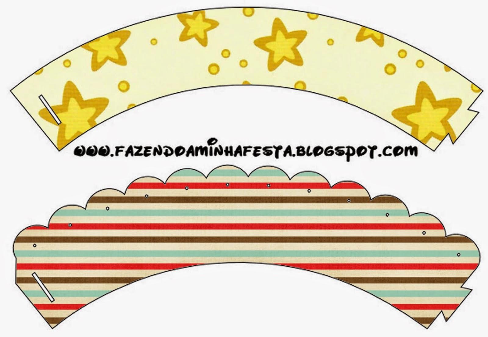 Wrappers para Cupcake para Imprimir Gratis Estrellas Doradas y Rayas de Colores.