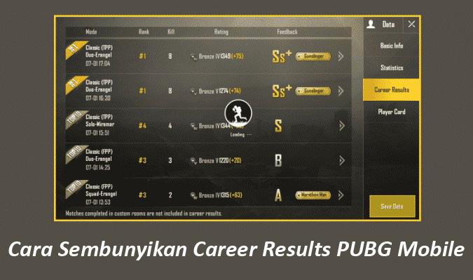 Cara Sembunyikan Career Results di PUBG Mobile