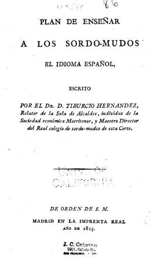 Plan de enseñar a los sordomudos el idioma español, 1815