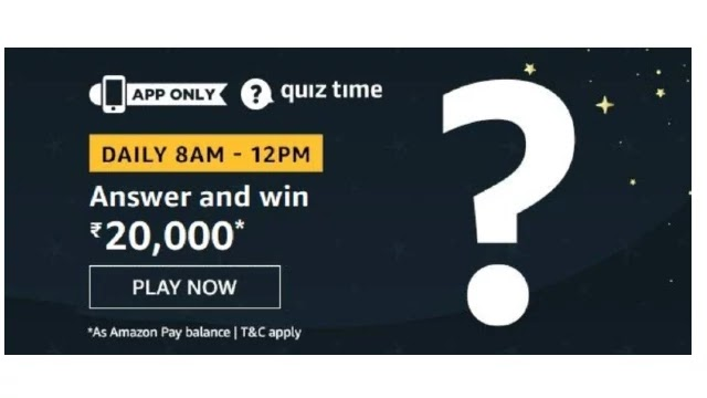 Amazon ₹20000 Pay Balance Quiz Answers - Today 2nd April 2020
