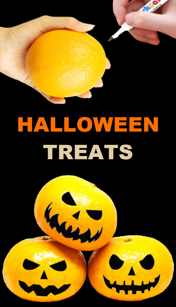 Keep things a bit healthier this Halloween and make jack-o-lantern oranges! #clementinejackolanterns #jackolanternoranges #halloweenfoodideas #halloweentreats #growingajeweledrose