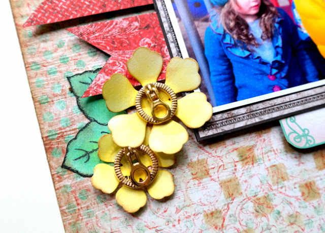 Yellow Die-Cut Flowers and Green Hand-Stamped Leaves with Gold Zipper Button Embellishment