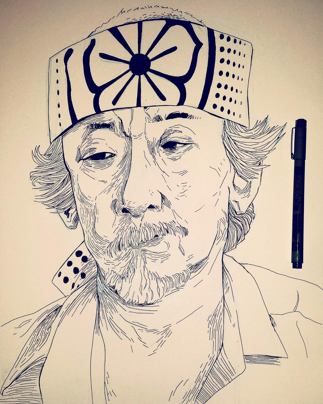 Pat Morita illustration Mr Miyagi