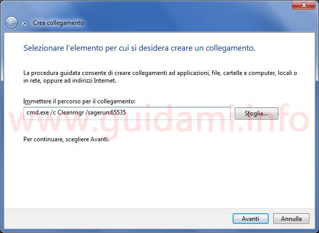 Finestra Crea collegamento Windows Immettere il percorso per il collegamento