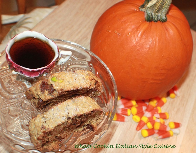 these are a pumpkin chocolate chip biscotti with espresso and a pumpkin in the photo