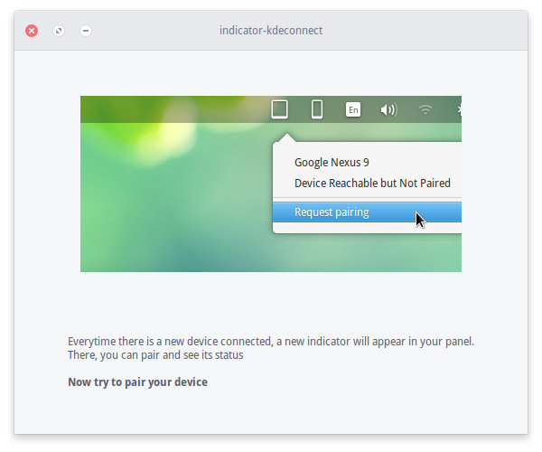 KDE Connect Indicador (Parear)