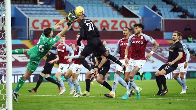 Aston Villa goal keeper Emi Martinez saves a West Ham header