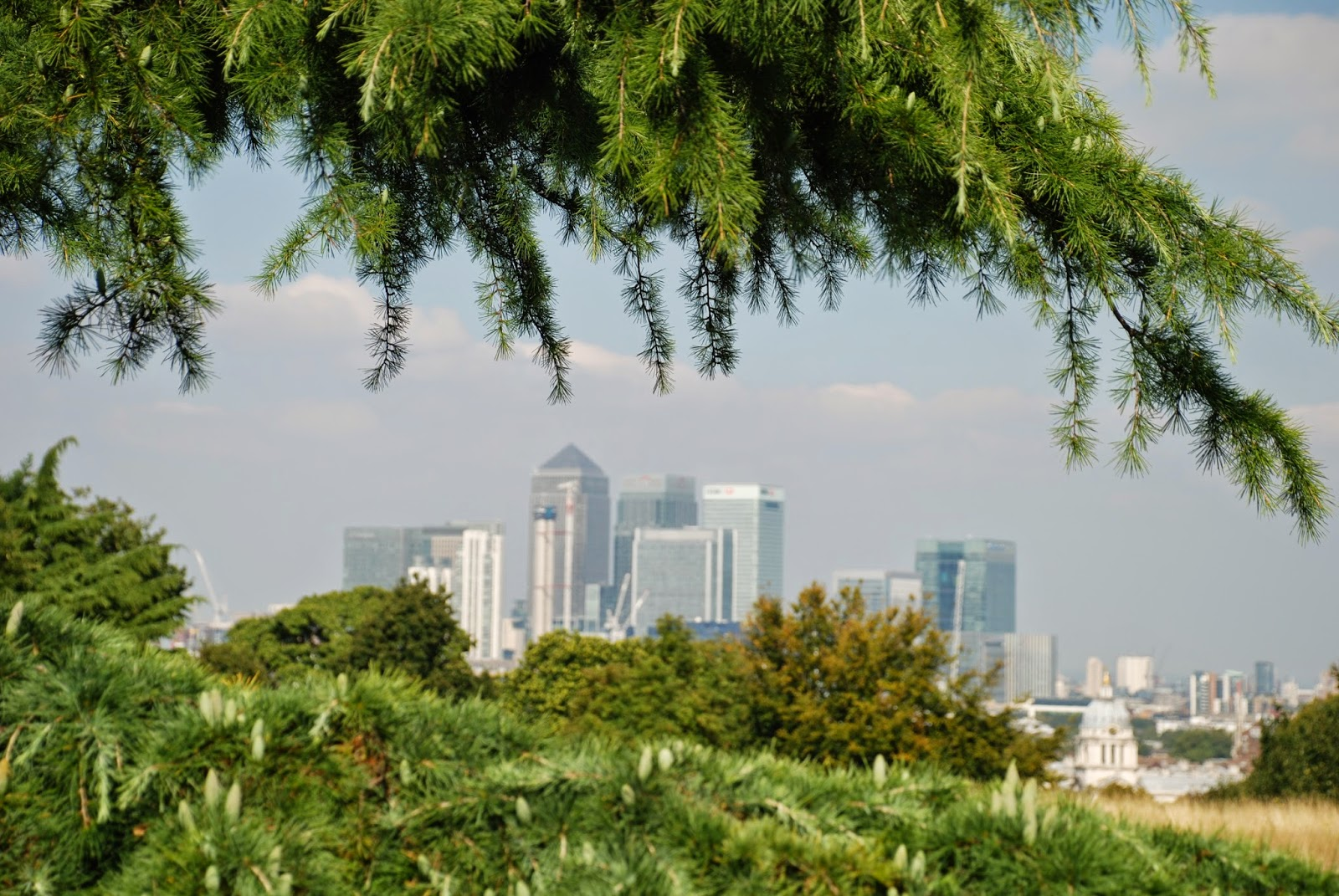 The Docklands and Canary Wharf from Greenwich Park