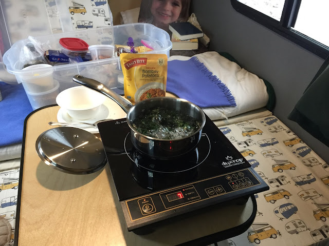 There are no toxic fumes in a tiny camper with induction cooking.