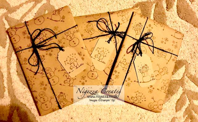 Nigezza Creates Wrapping Paper with Stampin' Up! Snowman Season