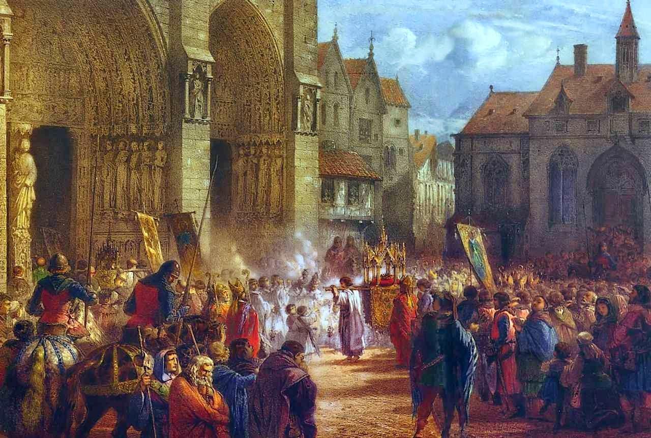 São Luís carrega na procissão a Coroa de Espinhos até Notre. Dame Jules David, Paris, 1861