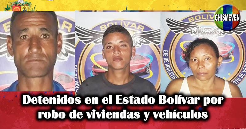 Detenidos en el Estado Bolívar por robo de viviendas y vehículos