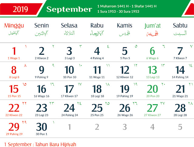 Hari Libur Nasional dan Cuti Bersama Bulan September 2019
