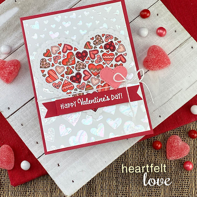 Happy Valentines Day card by Jennifer Jackson | Heartfelt Love Stamp set, Heart Frames Die Set, Banner Trio Die Set and Tumbling Hearts Stencil by Newton's Nook Designs