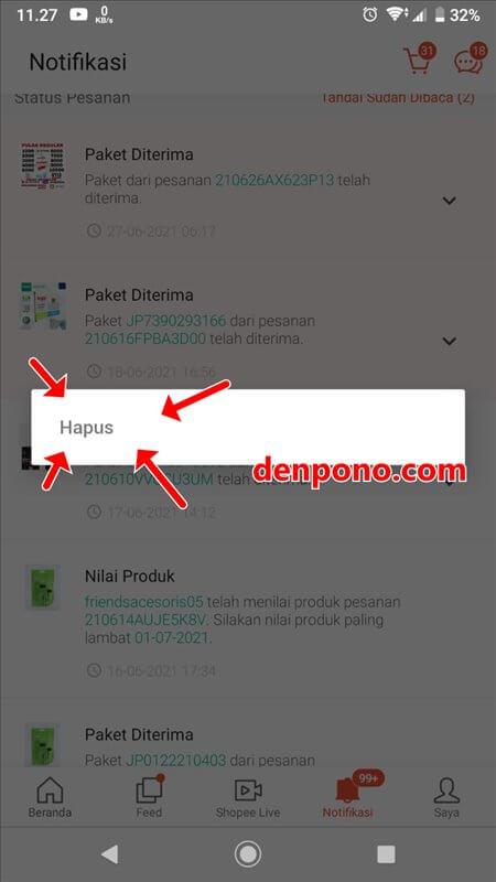 cara hapus notifikasi pesanan di shopee