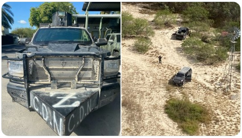Sicarios de La Tropa del Infierno huyen y abandonan troca blindada y camión monstruo tras enfrentarse a Militares en Nuevo Laredo; Tamaulipas