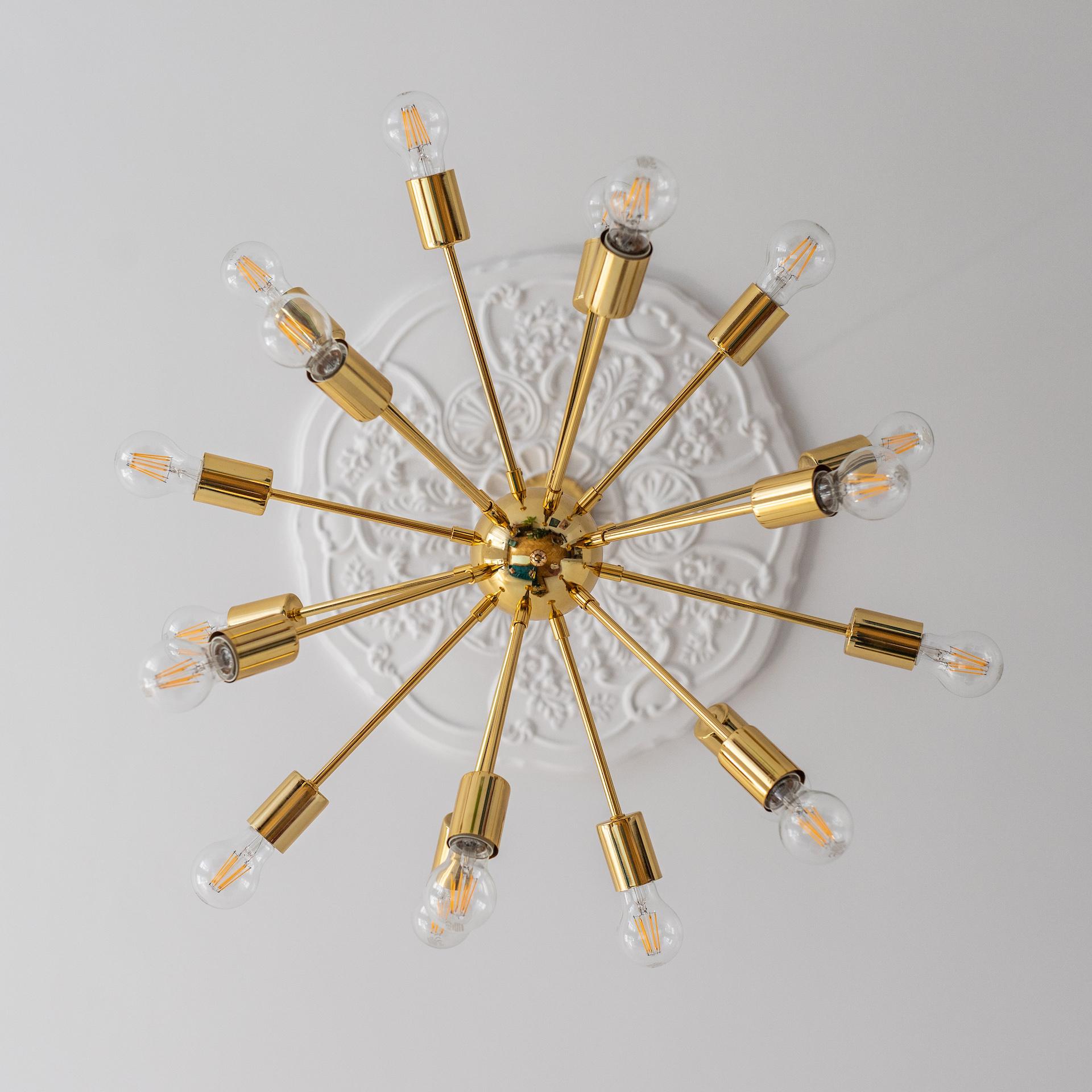 lampy sufitowe - złoty żyrandol