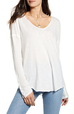Free People Long Sleeve Snap Cuff Top