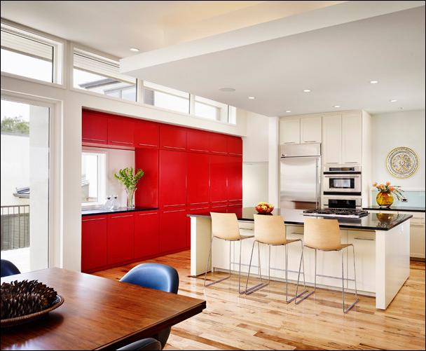 cocina en blanco y rojo