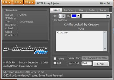 menggunakan http proxy injector pc