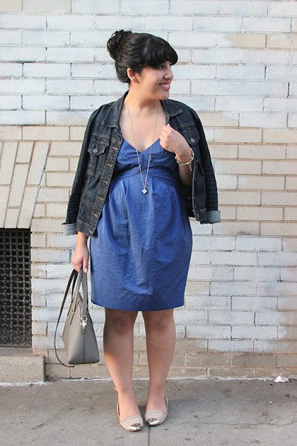 Kut from the Kloth Denim Jacket and All Saints Dress Spring Weekend Outfit