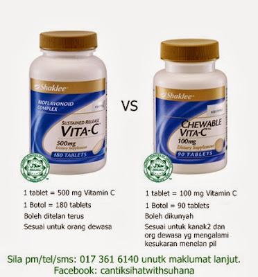 Perbezaan antara Chewable Vita-C dengan Sustained Release Vita-C Shaklee