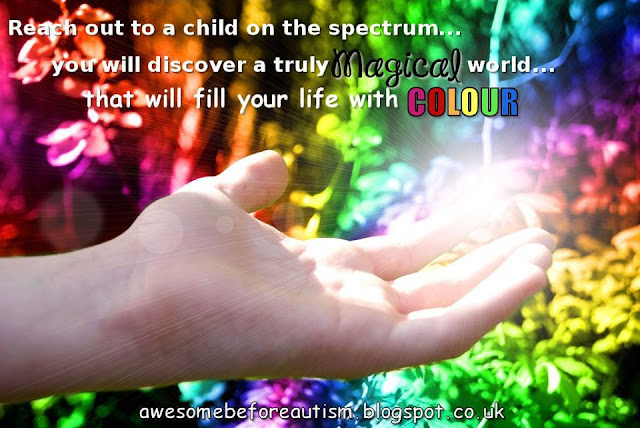 Autism poster, featuring child's outstreched hand and rainbow colours.
