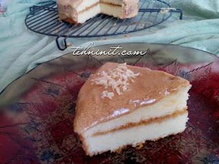 Sponge Cake Dasar 2 Telur Dengan  Krim Kopi tehninit