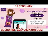 Amazon Dairy Milk Silk Alexa Quiz Answers 12-Feb-2021
