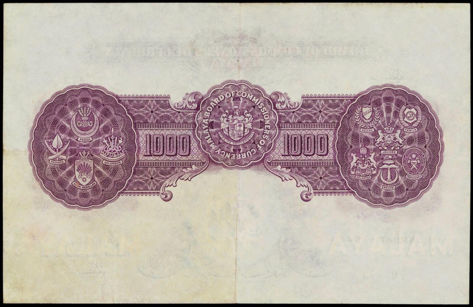 Malaya 1000 Dollar note bill 1942