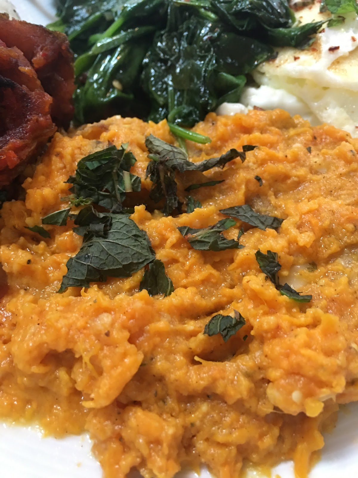 THE BREAD: Mashed sweet potatoes, here with roughly chopped fresh mint ...
