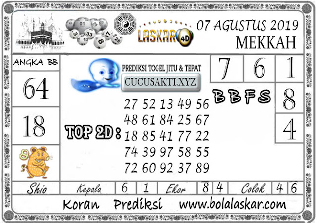 Prediksi Togel MEKKAH LASKAR4D 07 AGUSTUS 2019