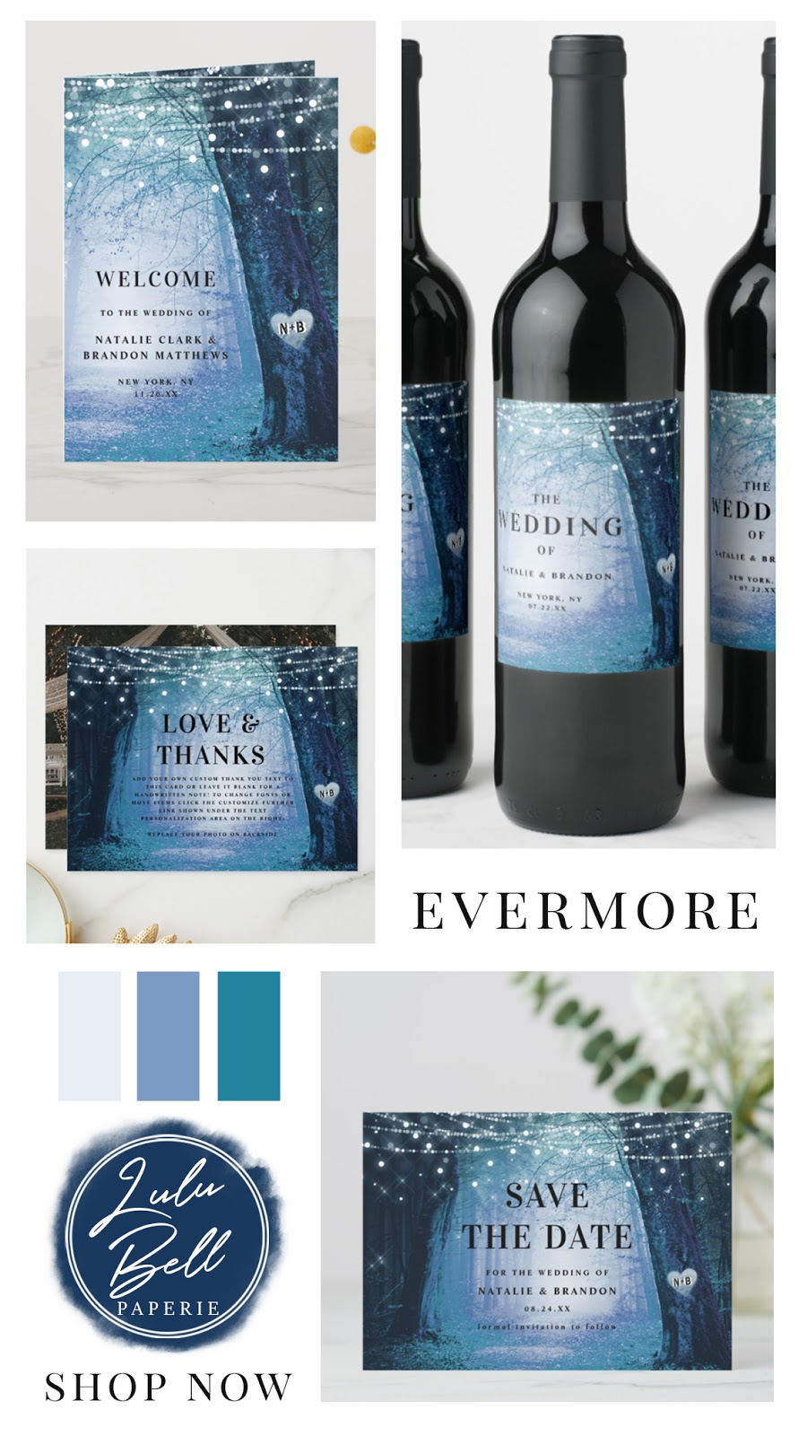 Enchanted Forest Navy Blue Wedding Invitation Suite, Cards, Wine Labels, Thank You, Save the Dates and Wedding Programs