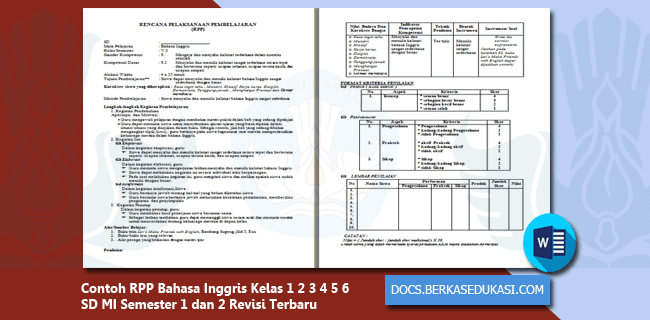 Contoh RPP Bahasa Inggris Kelas 1 2 3 4 5 6 SD MI Semester 1 dan 2 Revisi 2019-2020