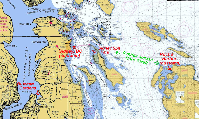 Noaa chart for Haro Strait from Roche Harbor to Butchart Garden and Sidney