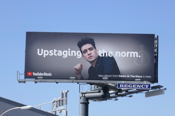 Upstaging norm Panic at Disco YouTube Music billboard