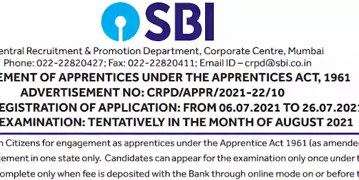 State Bank Of India Apprentices Recruitment 2021
