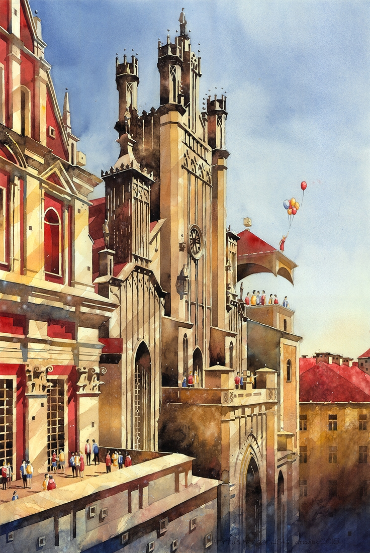 03-Cathedral-Tytus-Brzozowski-Architecture-Meets-Watercolors-Paintings-in-Warsaw-www-designstack-co