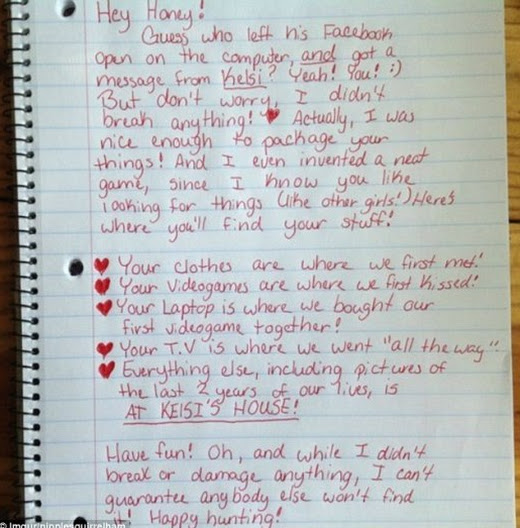 Check out this letter from girlfriend to ass cheating boyfriend